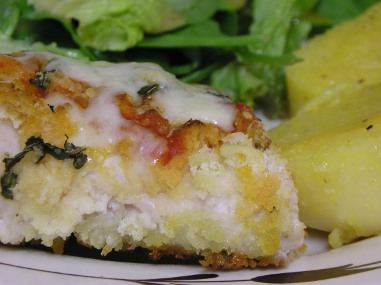 Oven-fried chicken parmesan