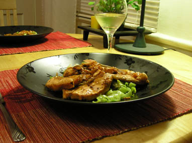 Teriyaki stir-fried salmon with leeks
