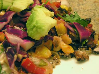 Vegetarian tacos with chipotle sour cream
